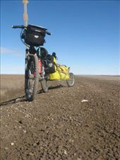 'Tasman' and trailer loaded on the gravel of the Dalton, blue skies on the North Slope: by thefuegoproject, Views[638]