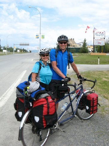 An american couple that run a school in Beunos Aires Argentina, riding from Seattle to Anchorage on a tandem