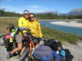 Cindy and Bridget from Sitka, Alaska, riding from Fernie to Banff. Cindy doing bits of the Great Divide trail, girlpower!: by thefuegoproject, Views[354]