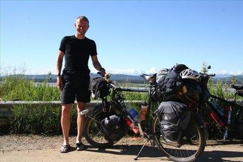 Richard, our friendly Dutch cycling companion , enjoying the warm alaskan summer sun.