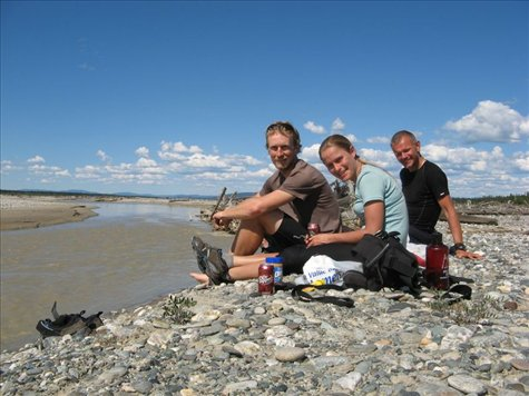 Enjoying lunch with Richard on the Delta riverbed at Delta Junction