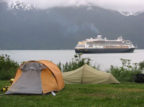 Portage Cove campground, with views of the Lynn Canal and a Holland America lines cruise ship