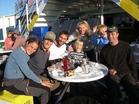 On the ferry with Arda, Guusje, Wietse and Jeroen