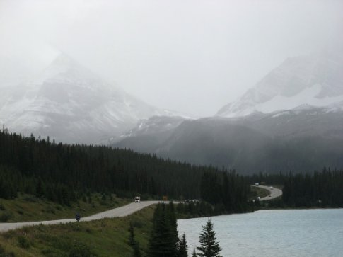 That looks like snow coming.... lakeside riding closer to Lake Louise