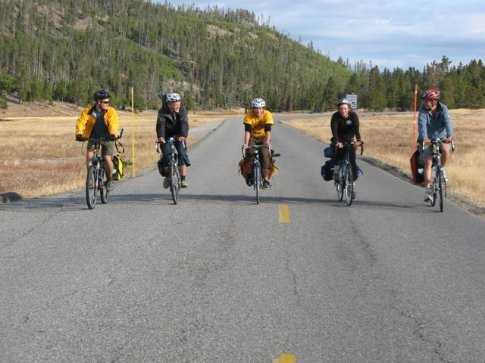 Ali, Colin, Lucas, Kevin and Thomas riding to Old Faithful, Yellowstone NP