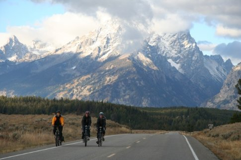 Ali, Thomas and Colin with Grand Tetons in backdrop