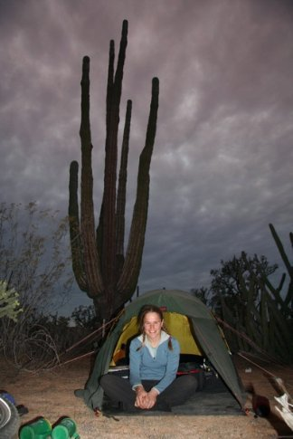 Anna at desert camp, Punta Prieta