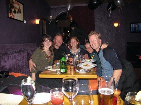 Edwer, Richard, Caroline, Anna and Alister enjoying New Years Eve dinner in San Fran