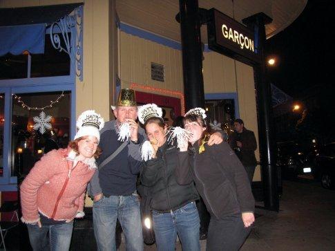 Caroline, Richard, Anna and Edwer celebrating the last hour of 2008