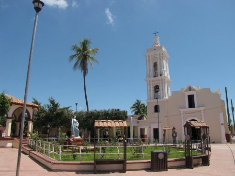 Plaza and church of Mexcaltitan, a small Island village amidst lagoons