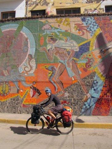 Anna and mosaic mural at Santiago Ixquintla