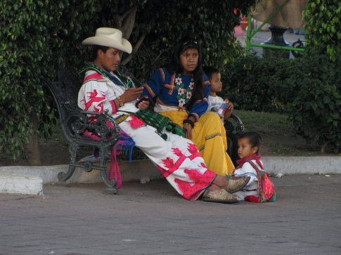 Huichol family in Tepic. The Huichol are one of four indigenous Indian groups of this area