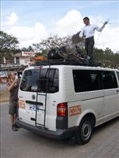 There it is, we did it...San Cristobal de las Casas...by mini-bus, bikes loaded on the roof. Anna is really sick with Salmonella and needs two weeks of rest and on antibiotics. We missed the climb up to 2100 metres...mmm too bad!: by thefuegoproject, Views[280]
