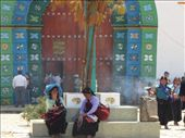 the colourful facade of the interesting church in Chamula...incense, chanting, offerings of coca cola and a pine needle covered floor: by thefuegoproject, Views[467]