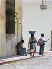 streetlife in Antigua, man painting, woman carrying fruit, man selling wooden flutes: by thefuegoproject, Views[532]