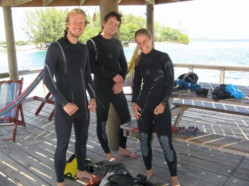 Ali, Mike and Anna ready for the first dive