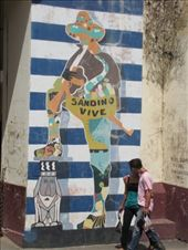 The walls of houses along streets of Leon are colourfully covered in murals. This is a mural of Sandino, a Nicaraguan revolutionary and leader of a rebellion against the U.S. military presence in Nicaragua between 1927 and 1933. He was labeled as a bandit by the U.S. government, and his exploits made him a hero throughout much of Latin America, where he became a symbol of resistance to U.S. domination.: by thefuegoproject, Views[443]