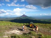 Oli and Scott, our Quetzal trekker guides, enjoying the afternoon sun and views of Volcan Momotombo from our camp on the slope of Volcan El Hoyo: by thefuegoproject, Views[693]