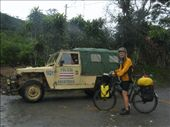 Friendly border police showing us the quickest way to a small border crossing in the mountains. We had ridden a few hilly days just to get here. If only we had known we wouldn't be allowed to cross.....: by thefuegoproject, Views[353]