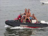Sylvio, Roli and Boris bringing the motorbikes to shore in Cartagena: by thefuegoproject, Views[286]