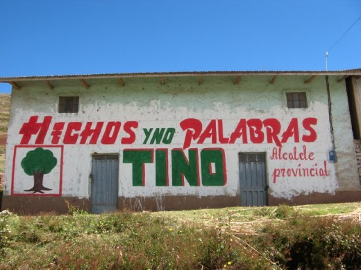 'deeds not words' the political campaign in Peru