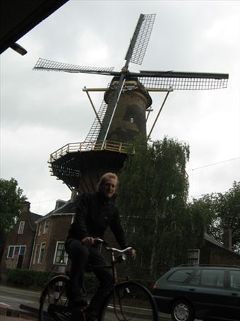 riding in Delft under the windmill