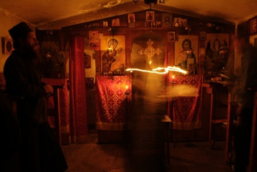 Praying in the chappel of the top, where the man gets less material and more lighfull.