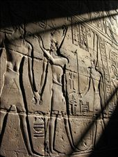 Tanning History is bathed in a ray of warm sunshine in Luxor temple.: by theother_katie, Views[174]