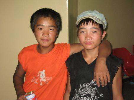 Sweet Mongolian boys at the train station