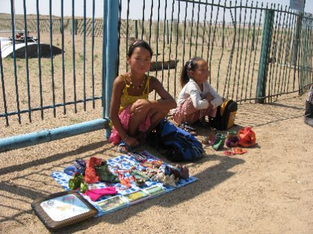 Little Girls Selling Their Crafts