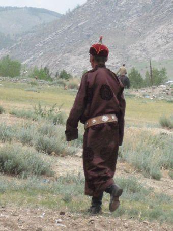 Man in a ''del''-traditional Mongolian dress.