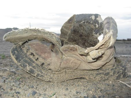 We found a multitude of abondoned shoes all over Mongolia.