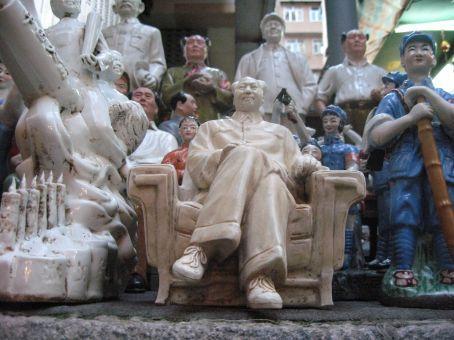 Mao and propaganda figurines at a local market