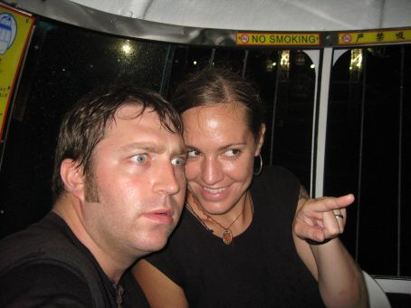 We are hot and wet on the cable car...we aren't really looking at anything.