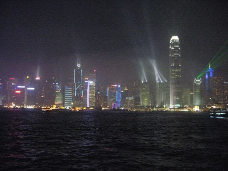 Nightly laser show at Victoria Harbor