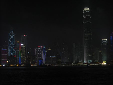 Nighttime view of Victoria Harbor