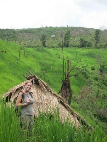 Elizabeth in a rice field.