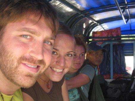 Greg, Elizabeth, Abby, and Laotian man on Sawngthau