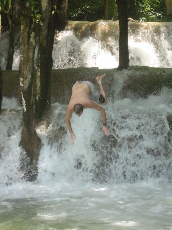 Mat goin' headfirst into Tad See Waterfall