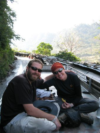 Us on top of bus on the way to Pokhara