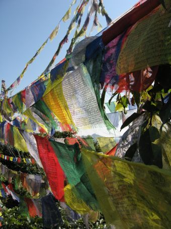 Some prayer flags on a hilltop adjacent to Pokhara