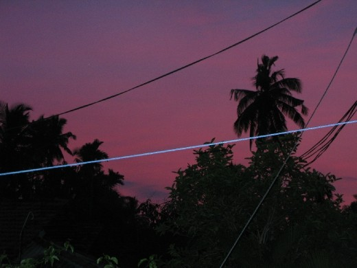the purple skies of sunset before we went on our travels.