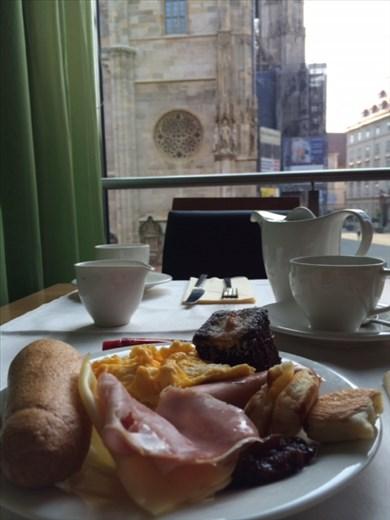 Hearty hotel breakfast