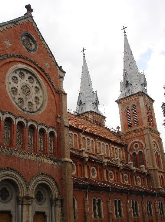 The side view of the Notre Dame Cathedral in Ho Chi Minh City.