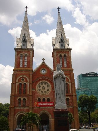 The front view of the Notre Dame Cathedral in Ho Chi Minh City.