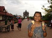 Cathy with our ice creams and the 'Victory Monument' in the background. : by thibaut, Views[133]