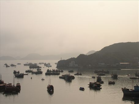View of the harbour on Catba Island at dusk from  my hotel room.