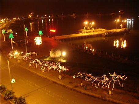 View of the Catba Harbour at night from the Hotel balcony.