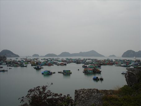 View over one of the floating villages located around Catba Island.