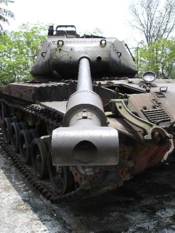 On the wrong end of a mean fighting machine. A captured American tank on display in Hue.